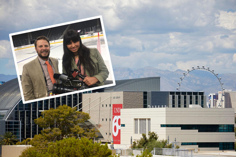 A collage of images showing a student and faculty at a hockey arena as well as the UNLV and Las Vegas skyline on a cloudy day.