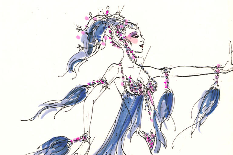 drawing of showgirl costume