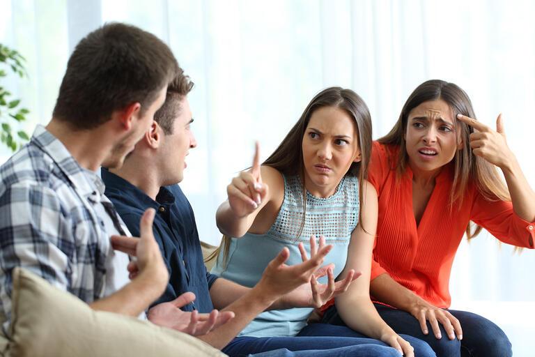 four friends arguing