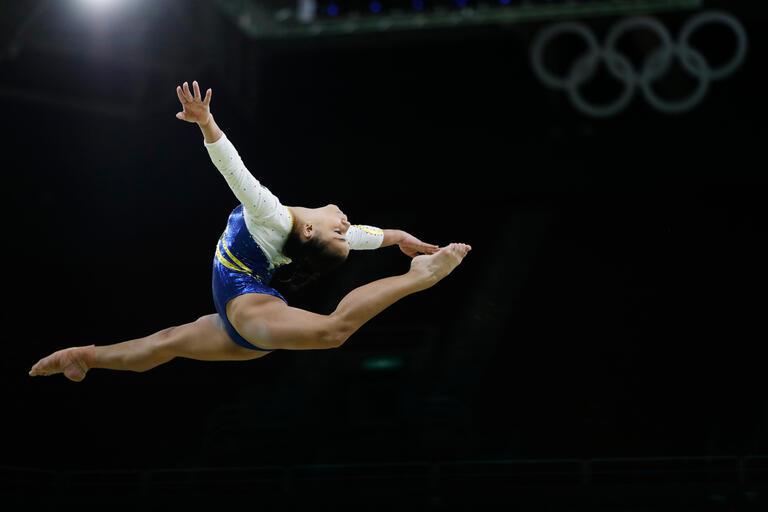 Flavia Saraiva partakes in artistic gymnastics at the Rio 2016 Summer Olympics.
