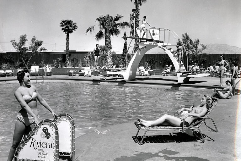 Swimming pool scene at the Riviera Hotel