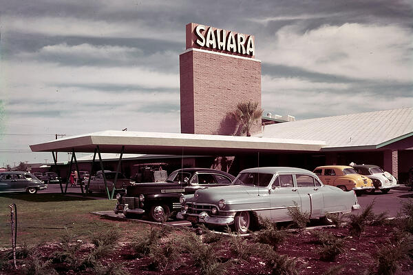 Old Sahara on the Vegas Strip sometime in the mid-1950s with cars lined up in parking lot.