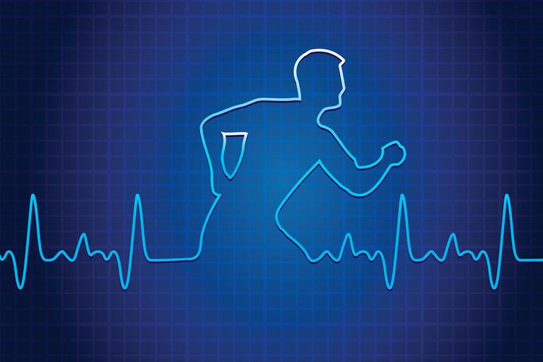 an EKG graph forms a man running