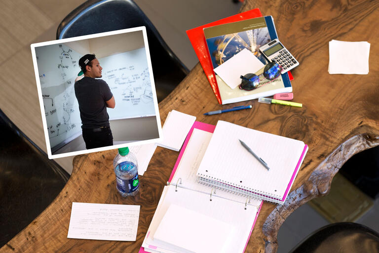 A collage of images featuring a male student in front of a whiteboard with equations as well as a desk filled with notebooks, pens, paper, a calculator, sunglasses, and other study materials.