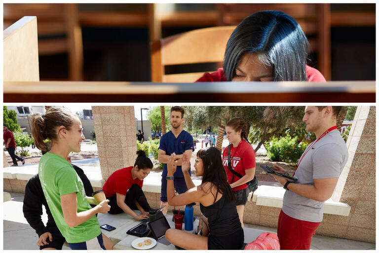collage of one student studying and group of students