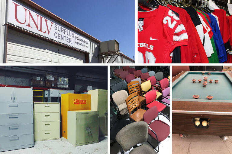 images showing surplus center sign, jerseys, chairs, pool table and filing cabinets