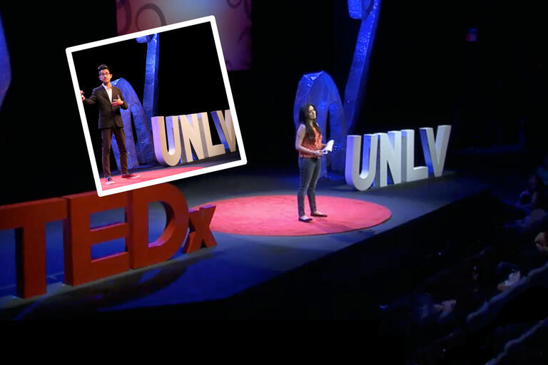 A collage of images showing speakers on stage with TEDx UNLV letters.