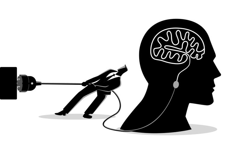 Concept illustration of a businessman trying to unplug the brain, sabotage, killing creativity