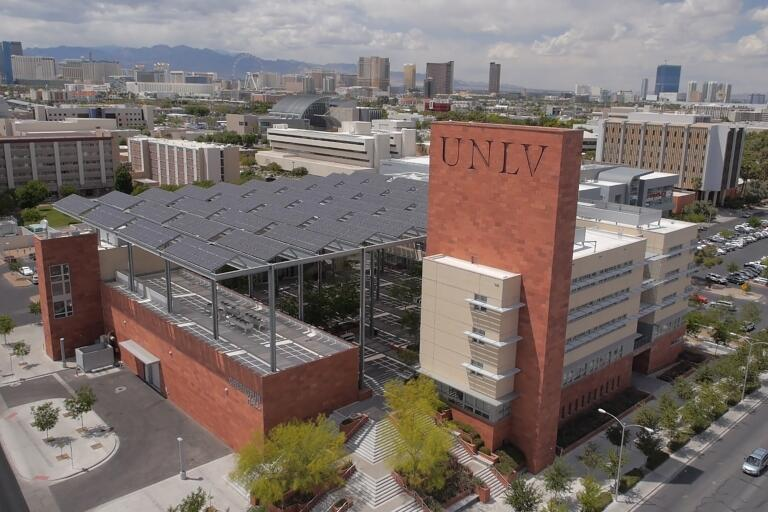 U-N-L-V campus with Greenspun Hall in the foreground