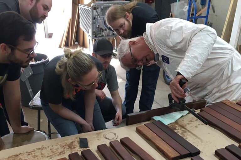 Building a marimba.