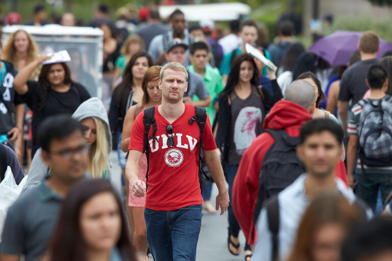 Students walking along the academic mall.