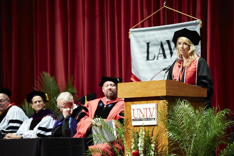 Law school speaker at commencement.
