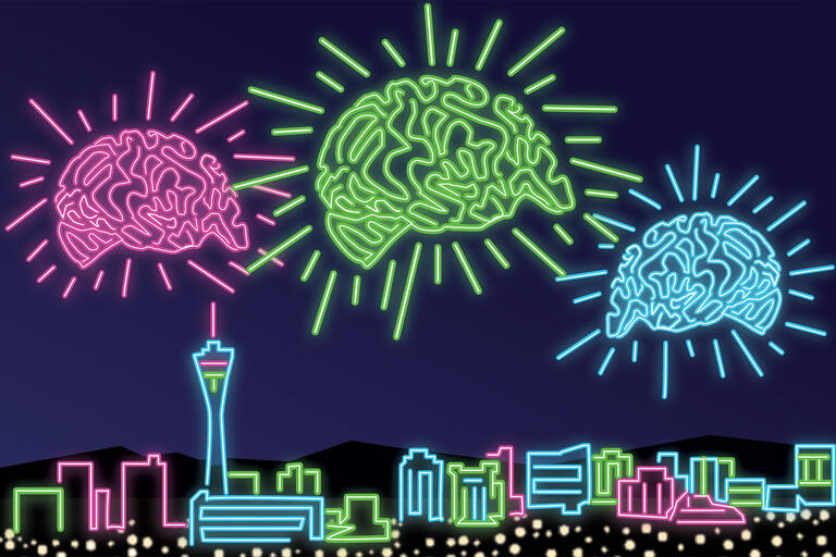 Illustration of the Las Vegas Strip and brains floating above it, all in neon colors