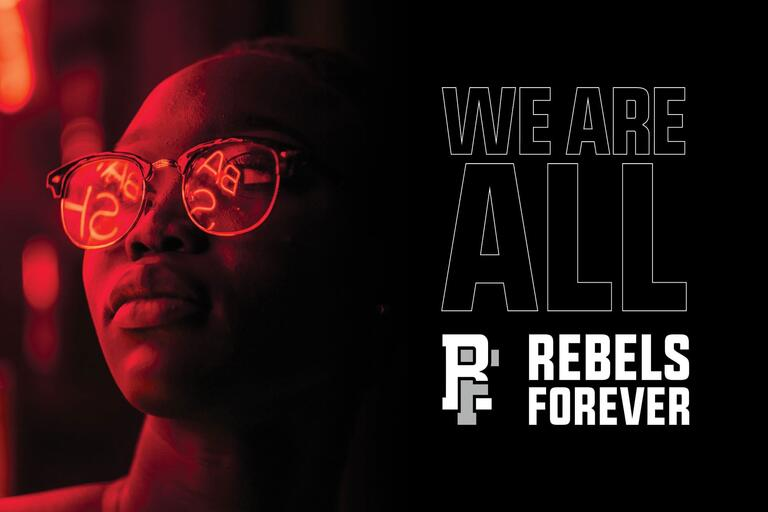 Girl with sunglass and the Rebels Forever logo