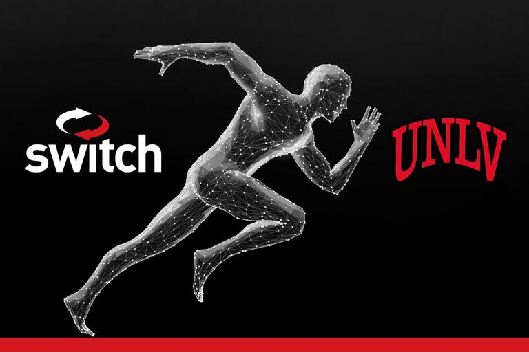 computer-generated man running with switch and U-N-L-V logos on either side