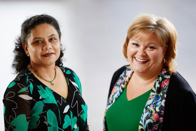 UNLV professors Arpita Basu and Patricia Gatlin