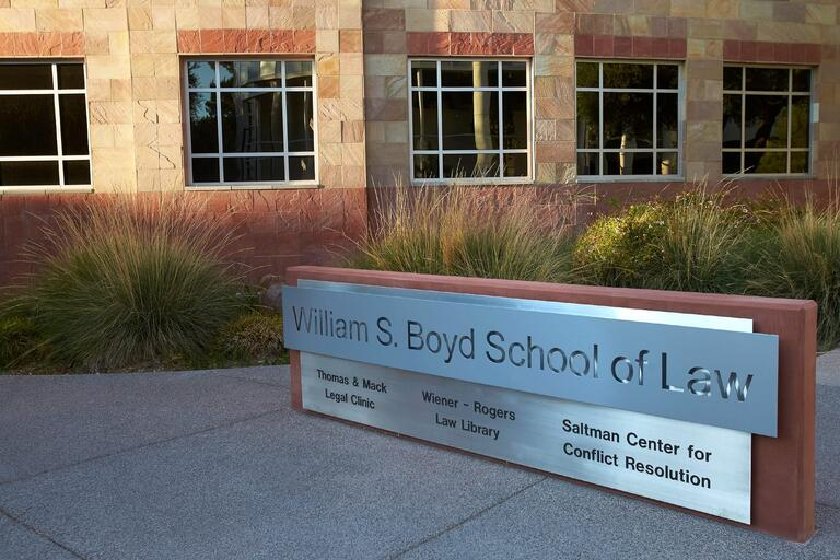 William S. Boyd School of Law sign outside the building.