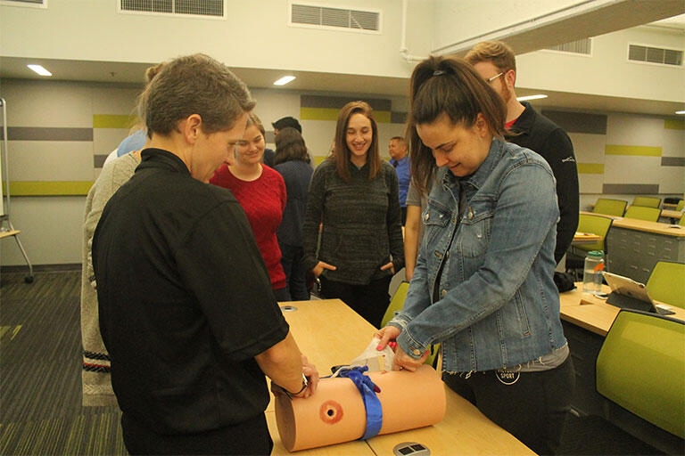The UNLV School of Medicine Charter Class during the Stop the Bleed training