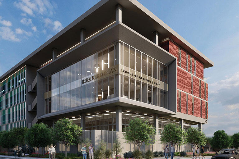 A rendering of the new Kirk Kerkorian School of Medicine at UNLV Building (Courtesy of Nevada Health and Bioscience Asset Corp.)