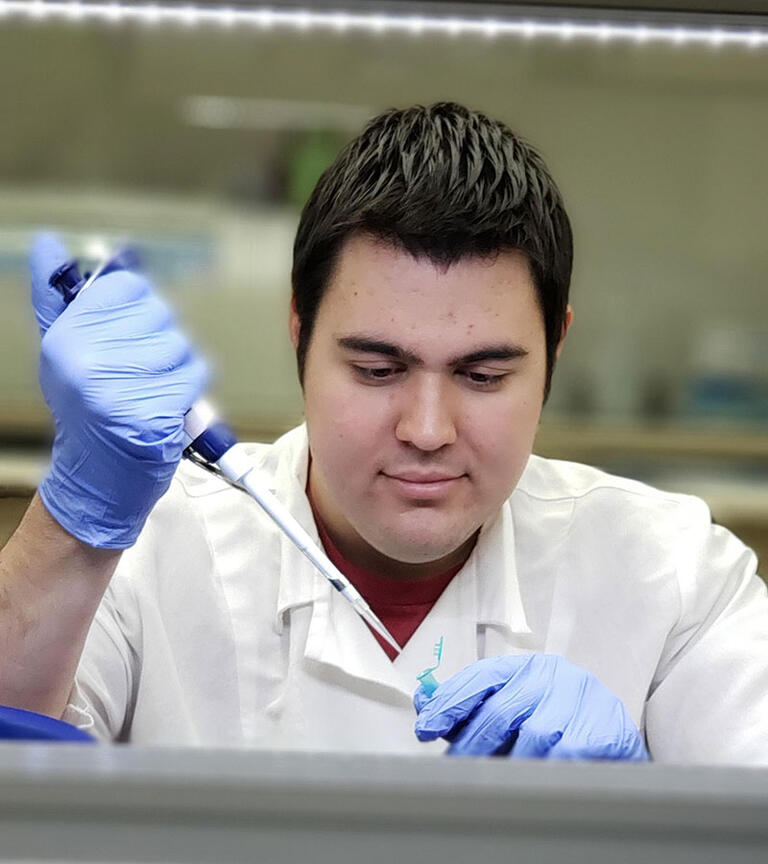 Male student working in the lab