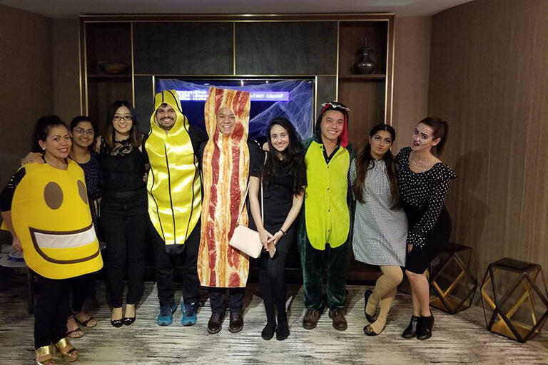 People in a costume party