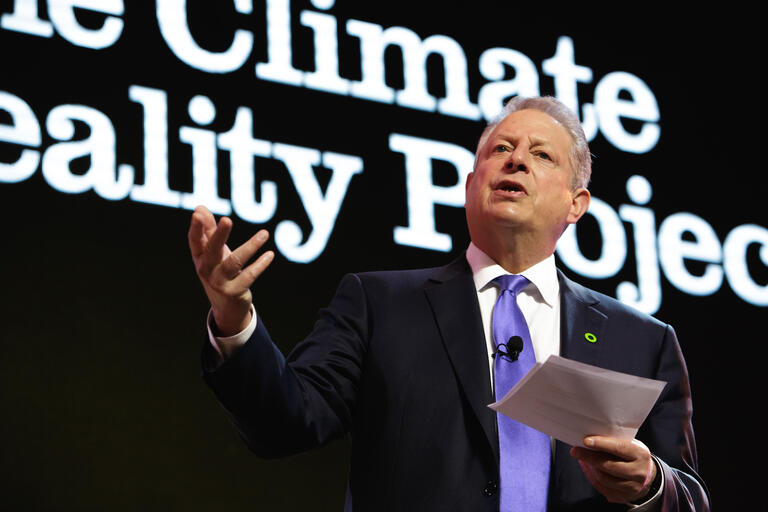 Nobel Laureate and former Vice President Al Gore gives a speech.