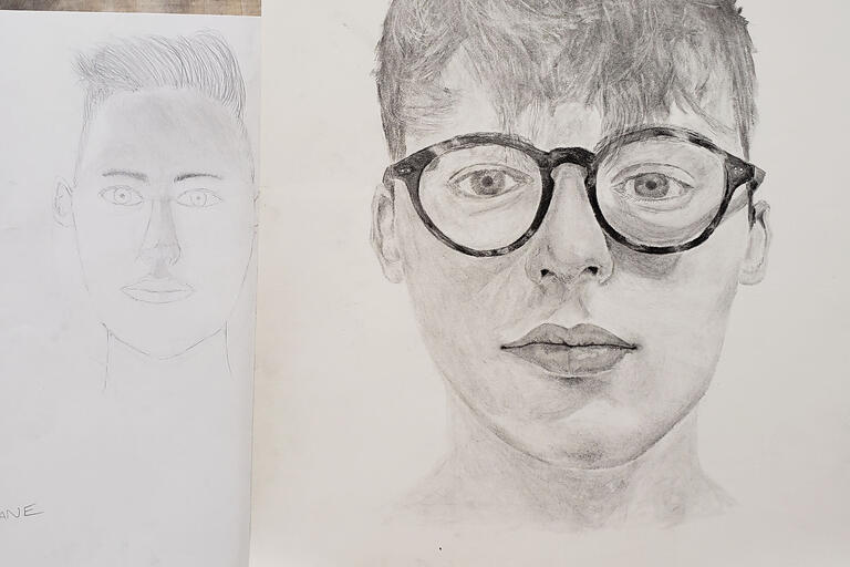 two drawings of men