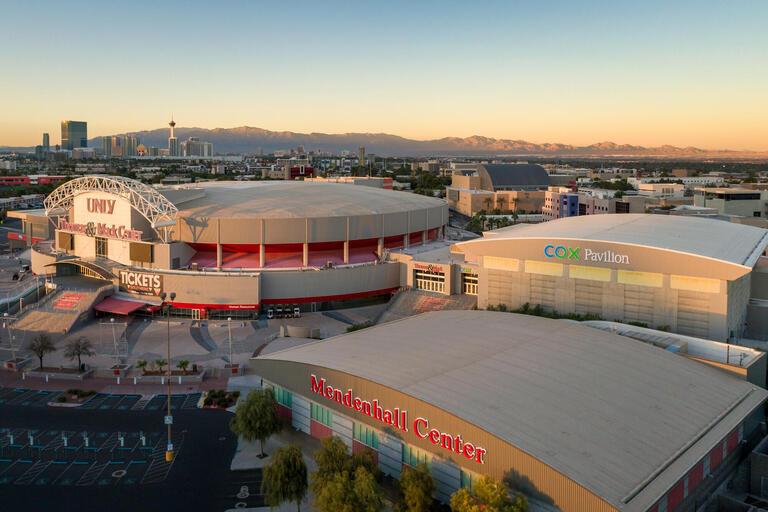 Exterior view of Thomas & Mack Center, Cox Pavilion and Mendenhall Center