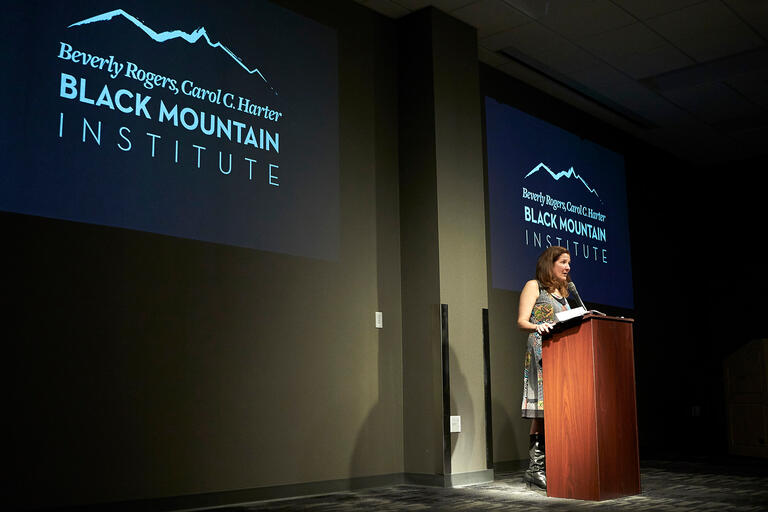 """Poet Heather Winterer reads selections from her book """"The Two Standards"""" during the Black Mountain Institute Alumni Reading Series"""