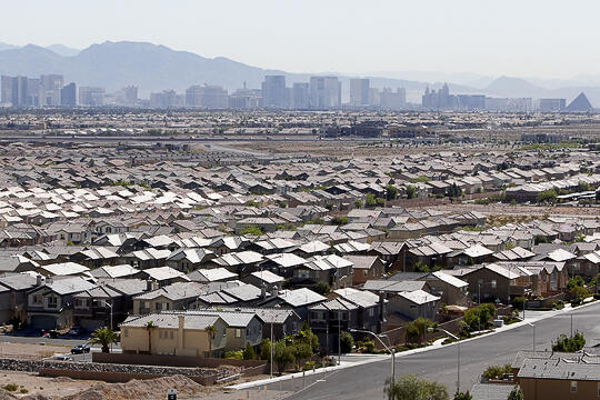 Housing development with Strip in the background