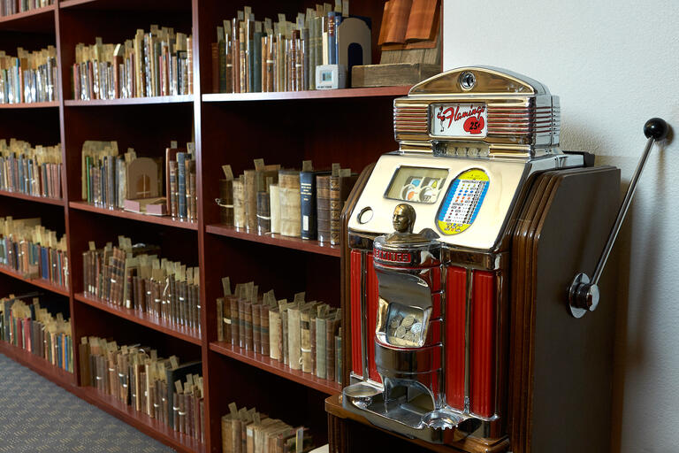 bookshelf and slot machine