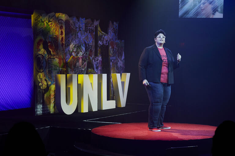 UNLV professor Georgiann Davis on stage