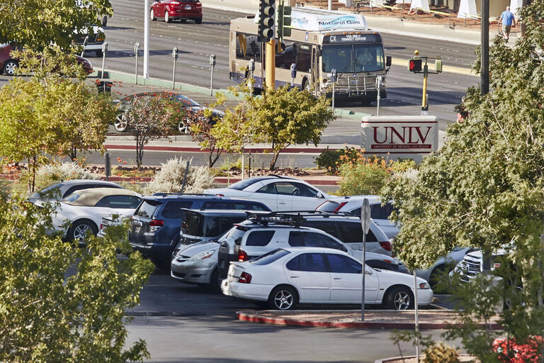 vehicles in parking lot at UNLV campus