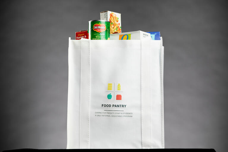 A UNLV Food Pantry tote bag filled with groceries.