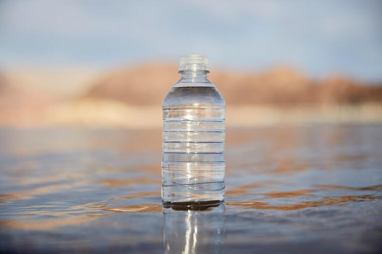 water bottle in Lake Mead
