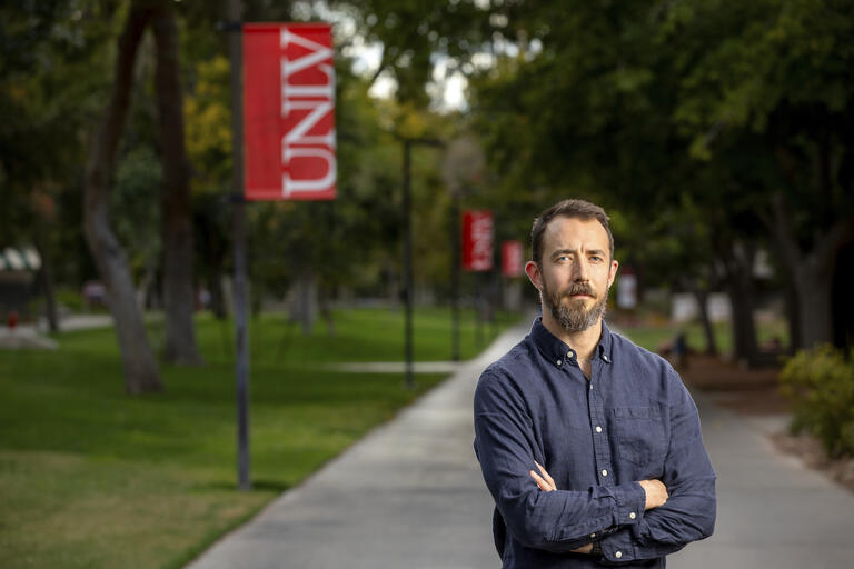 Profile image of UNLV social work professor Nick Barr on UNLV's campus