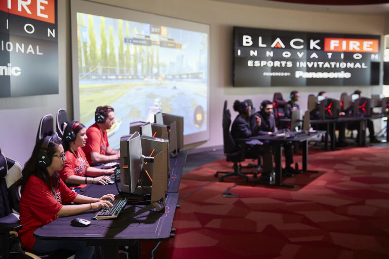 UNLV students playing esports games at Black Fire Innovation