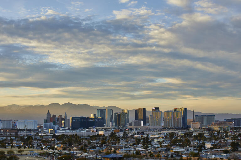 A photo of the area surrounding UNLV with the Las Vegas Strip in the background