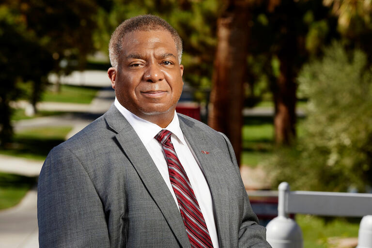 A portrait of UNLV's new president Keith Whitfield on campus.