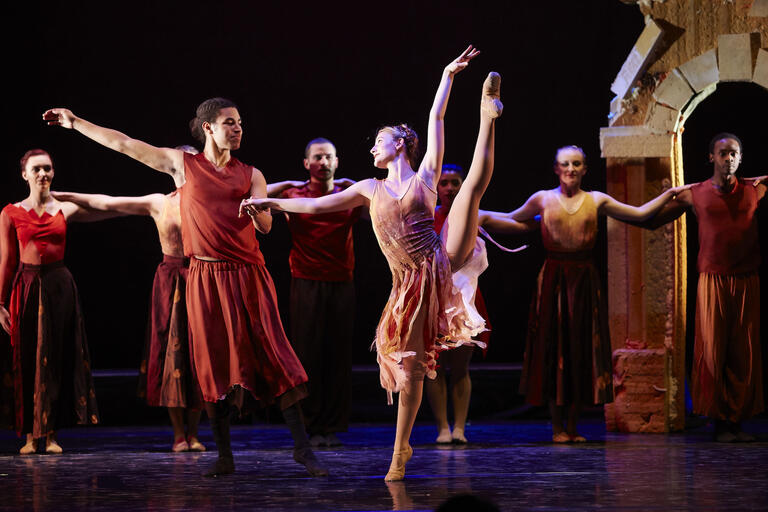 UNLV students rehearse a dance performance.