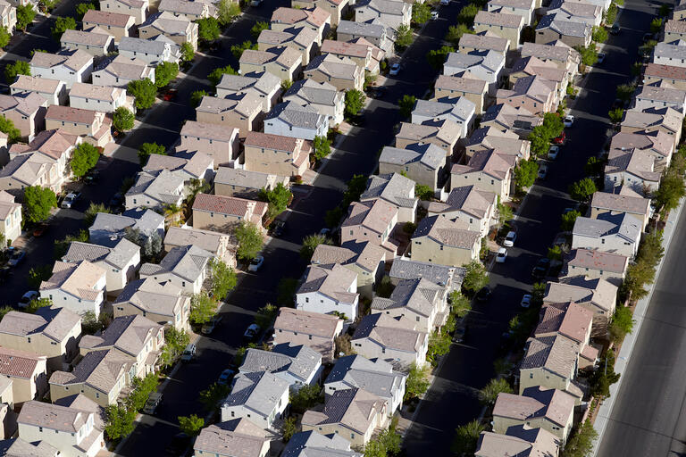 An aerial photograph of homes in a Southern Nevada neighborhood.