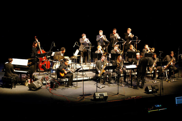 The UNLV Jazz Ensemble I performs on stage