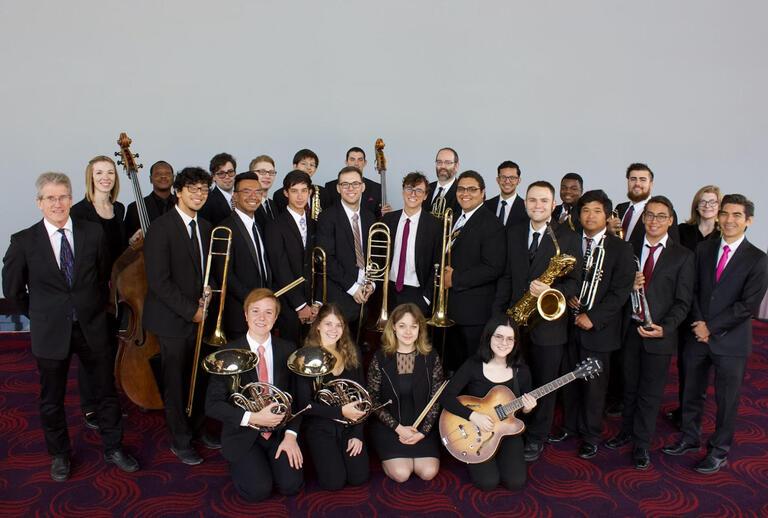 large ensemble of jazz musicians