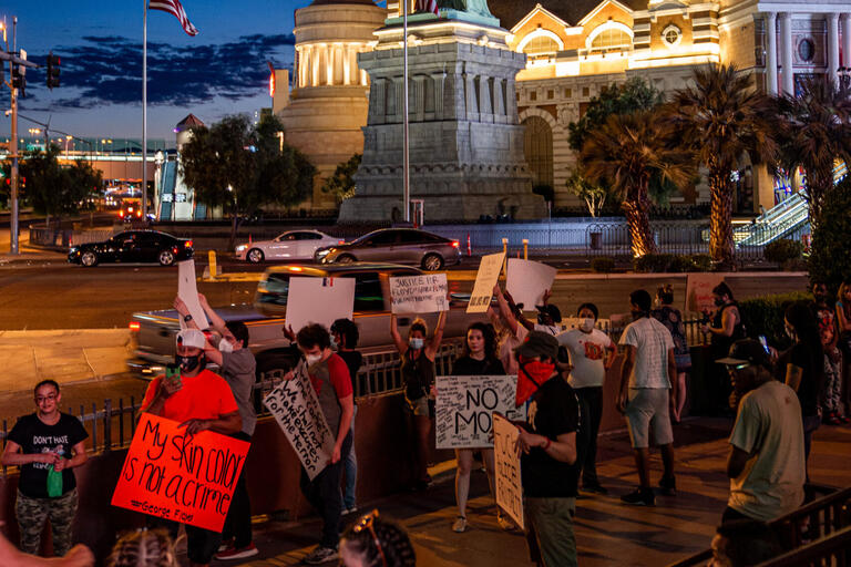 protestors outside New York New York casino