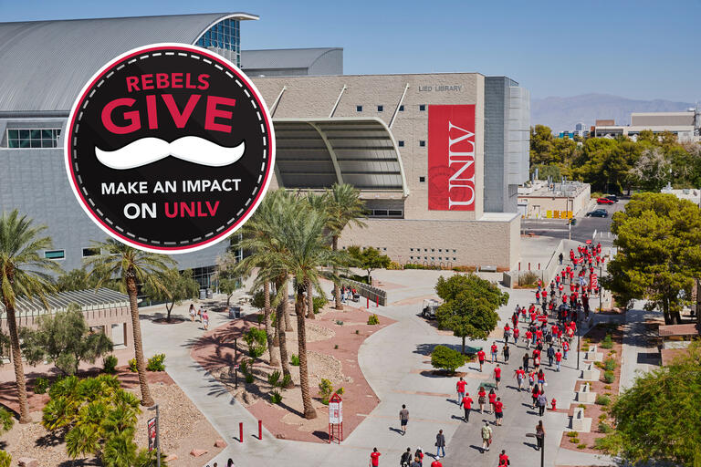 image of UNLV Lied Library and Rebels Give logo