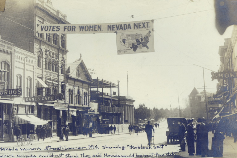 historic image of downtown street in early 1900s Reno, NV