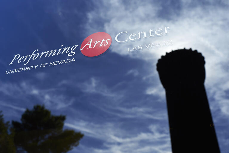 UNLV Performing Arts Center logo on a window
