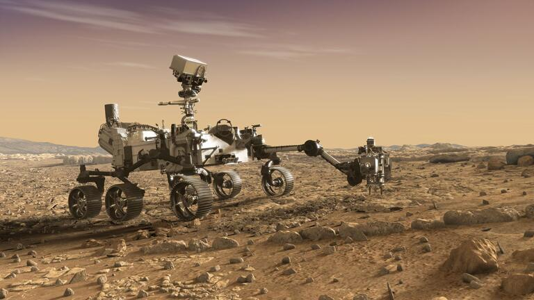 This artist's rendition depicts NASA's Mars 2020 rover studying rocks with its robotic arm.
