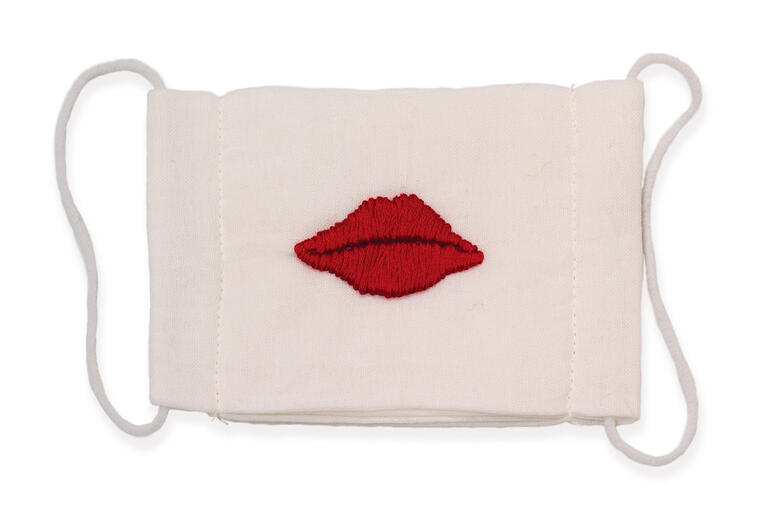 artwork of face mask with red lips