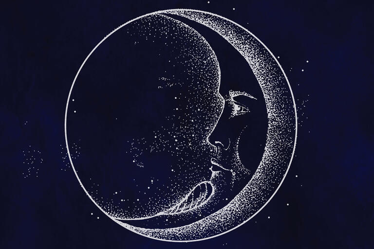 A classical style drawing of the moon